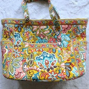 Vera Bradley Duffel Bag Tote Floral Quilted Yellow